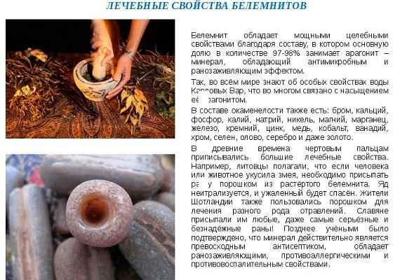 Лечебные свойства белемнитов